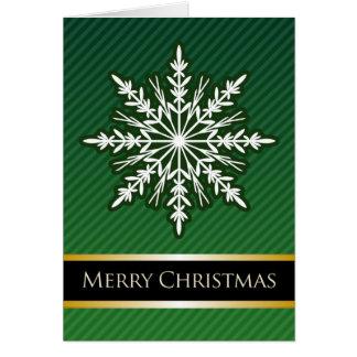 A7 Green Snowflake Striped Modern Christmas Card