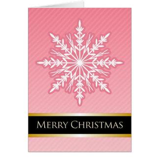 A7 Pink Snowflake Striped Modern Christmas Card