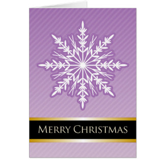 A7 Purple Snowflake Striped Modern Christmas Card