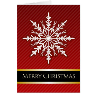 A7 Red Snowflake Striped Modern Christmas Card