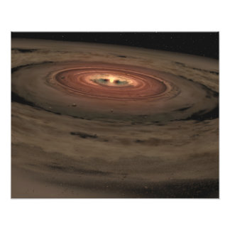 A brown dwarf surrounded by a swirling disk photo print