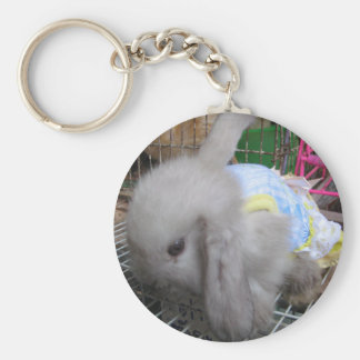 A Cute Bunny Rabbit in a Dress Basic Round Button Key Ring