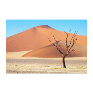 A dead tree on a desert plain with dunes stretched canvas print