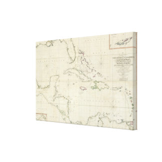 A General Chart of the West Indies Stretched Canvas Print