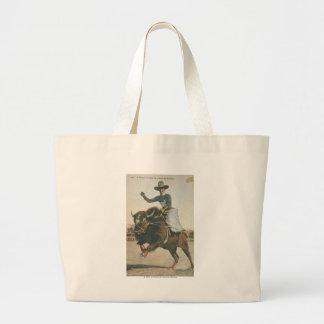 A Happy Cowboy on a Bucking Buffalo. Jumbo Tote Bag