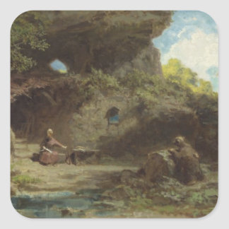 A Hermit in the Mountains Square Sticker