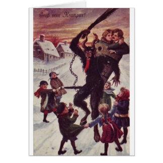 A Jolly Krampus Snow Scene Greeting Card
