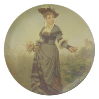 A Lady picking flowers in a landscape (panel) Party Plate