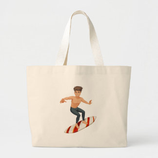 A man surfing jumbo tote bag
