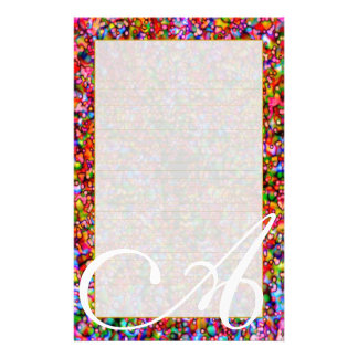 "A Monogram ""Colorful Bubbles"" Fine Lined Customized Stationery"