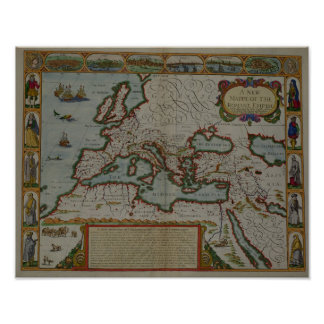 A New Map of the Roman Empire Poster