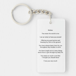 A Poem for Mother Double-Sided Rectangular Acrylic Key Ring