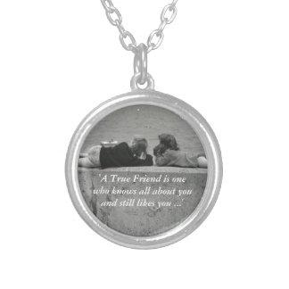 A True Friend Round Pendant Necklace
