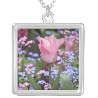 A tulip at Luxembourg Gardens, Paris, France Square Pendant Necklace