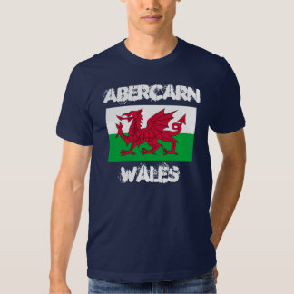Abercarn, Wales with Welsh flag Shirts