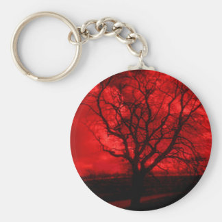 Abstract Bald Tree Basic Round Button Key Ring