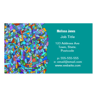 Abstract Colorful Blue Mosaic Pattern Pack Of Standard Business Cards