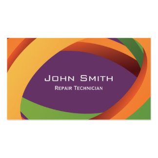 Abstract Curves Repair Technician Business Card