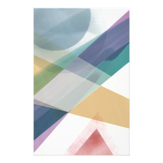 Abstract Geometric Shapes Watercolor Personalised Stationery