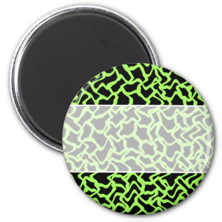 Abstract Graphic Pattern Black and Lime Green. 6 Cm Round Magnet