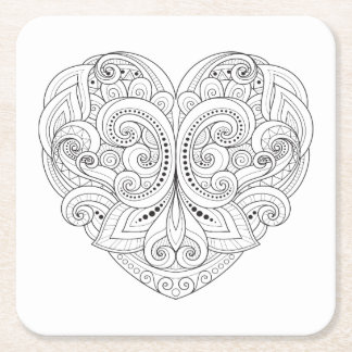 Abstract Heart Doodle Square Paper Coaster