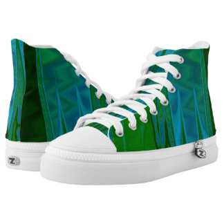 Abstract in Green Hi Top Printed Shoes