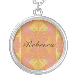 Abstract in Orange and Yellow Round Pendant Necklace