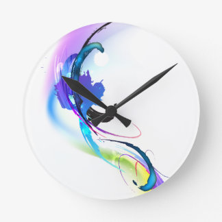 Abstract Morning Glory Paint Splatters Clock