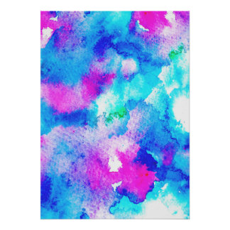 Abstract summer blue aqua pink watercolor paint poster