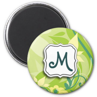 Abstract Swirl Floral Lime Green with Monogram 6 Cm Round Magnet