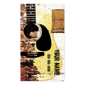 acoustic guitar grunge business card