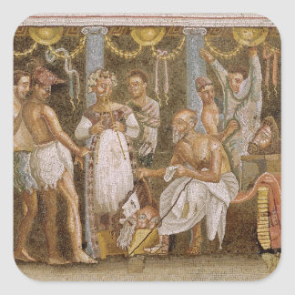 Actors rehearsing for a Satyr play, c.62-79 AD Square Sticker