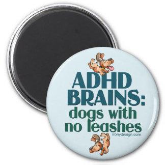 ADHD BRAINS (blue) 6 Cm Round Magnet