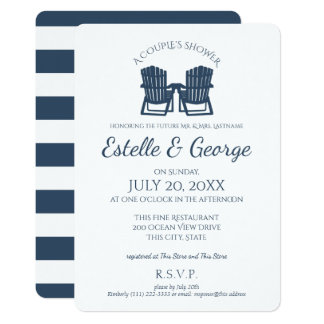 Adirondack Chairs Couple's Shower 13 Cm X 18 Cm Invitation Card