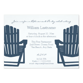 Adirondack Navy Blue Beach Chairs Retirement Party 13 Cm X 18 Cm Invitation Card