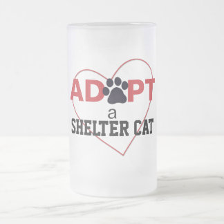 Adopt a Shelter Cat Frosted Glass Mug