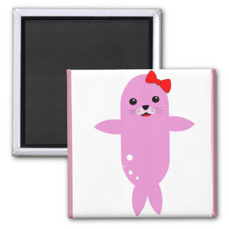 Adorable seal red bow square magnet