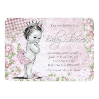 Adorable Vintage Pink Baby Shower 13 Cm X 18 Cm Invitation Card