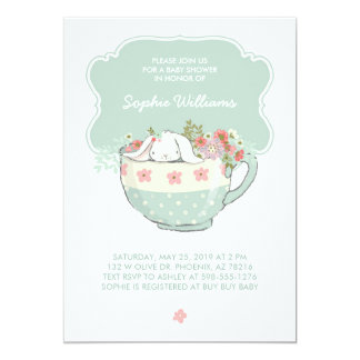 Adorable White Bunny in a Tea Cup Baby Shower 13 Cm X 18 Cm Invitation Card