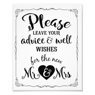 advice and well wishes party wedding sign photographic print