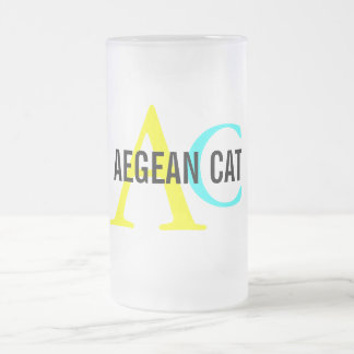 Aegean Cat Monogram Frosted Glass Mug