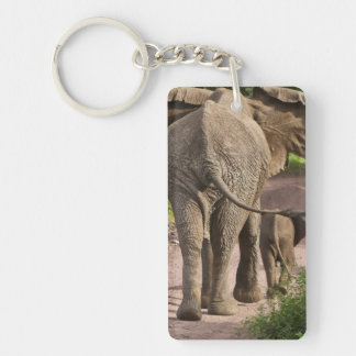 Africa. Tanzania. Elephant mother and calf at Double-Sided Rectangular Acrylic Key Ring