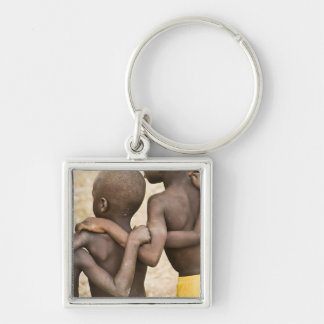Africa, West Africa, Ghana, Yendi. Close-up shot Silver-Colored Square Key Ring