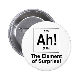 Ah! The Element of Surprise. 6 Cm Round Badge