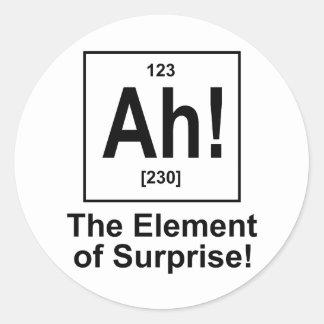 Ah! The Element of Surprise. Round Sticker
