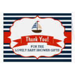 Ahoy It's A Boy! Nautical Boat Baby Shower Thanks Note Card