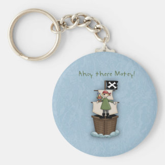 Ahoy There Matey!      Pirate Party Basic Round Button Key Ring