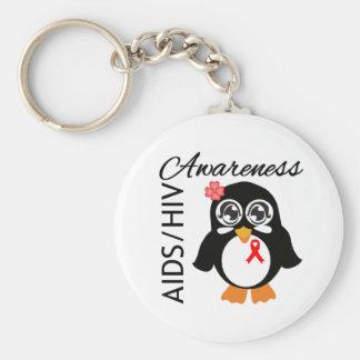 AIDS HIV Awareness Penguin Basic Round Button Key Ring