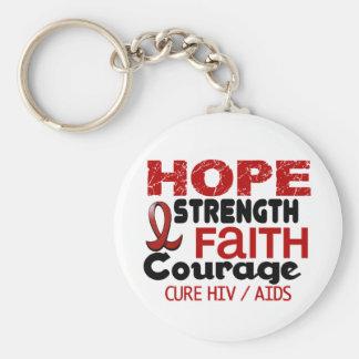 AIDS HIV HOPE 3 BASIC ROUND BUTTON KEY RING
