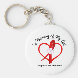 AIDS In Memory of My Dad Basic Round Button Key Ring